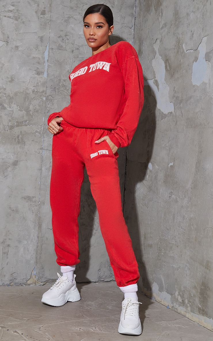 Red Washed Soho Town Printed Track Pants