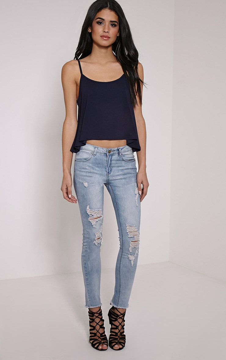 Basic Navy Jersey Swing Cami Top 3