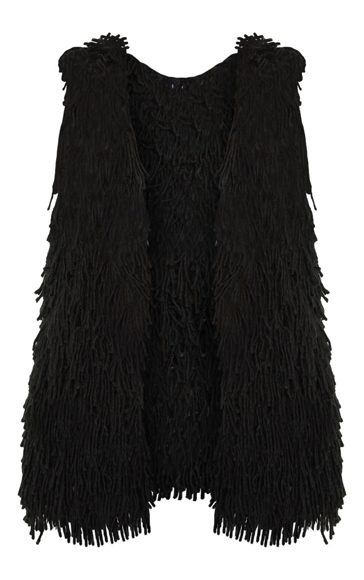 Black Shaggy Knit Longline Gilet 3