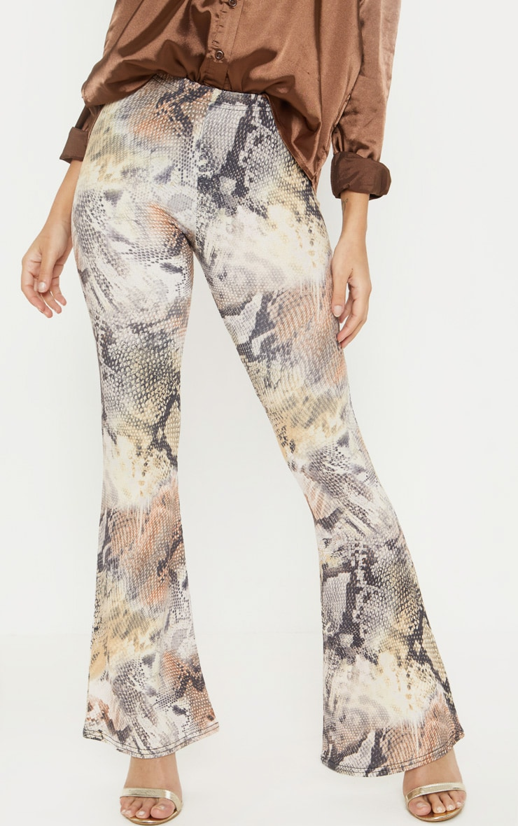 Petite Brown Flare Snake Print Trousers 2