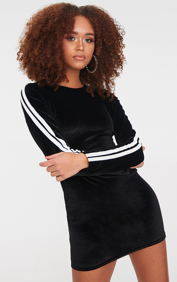 Black Velvet Contrast Sleeve Stripe Bodycon Dress 1