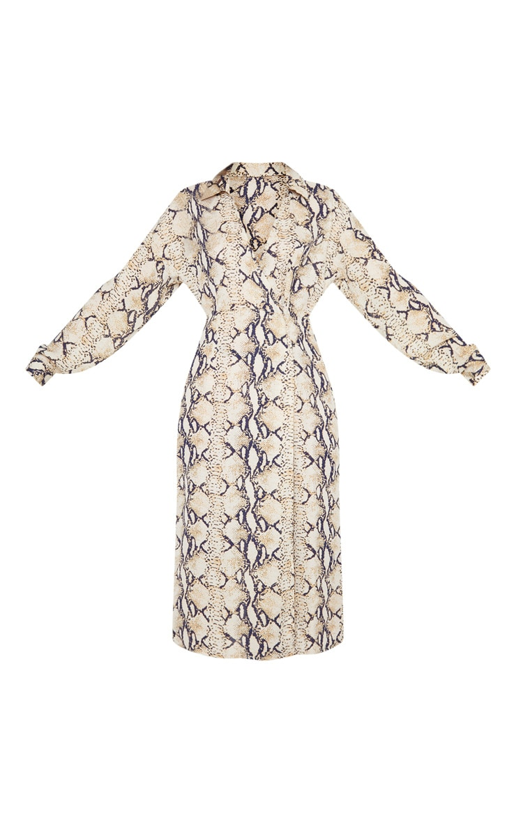 Taupe Snake Print Wrap Midi Dress 3