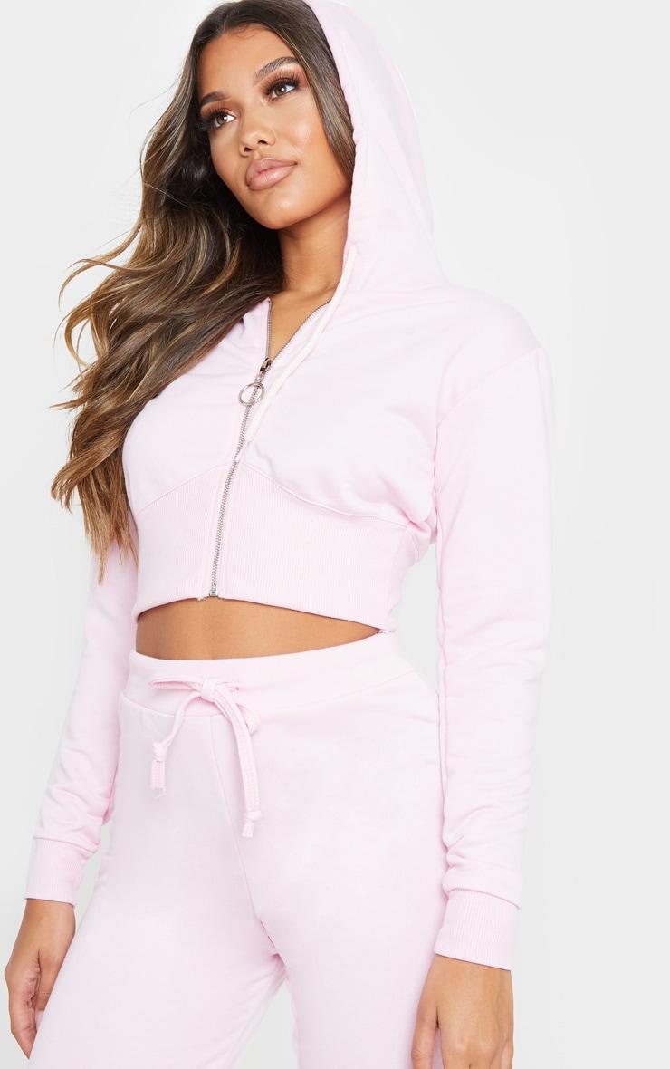 Light Pink Zip Up Bustier Hoodie 5