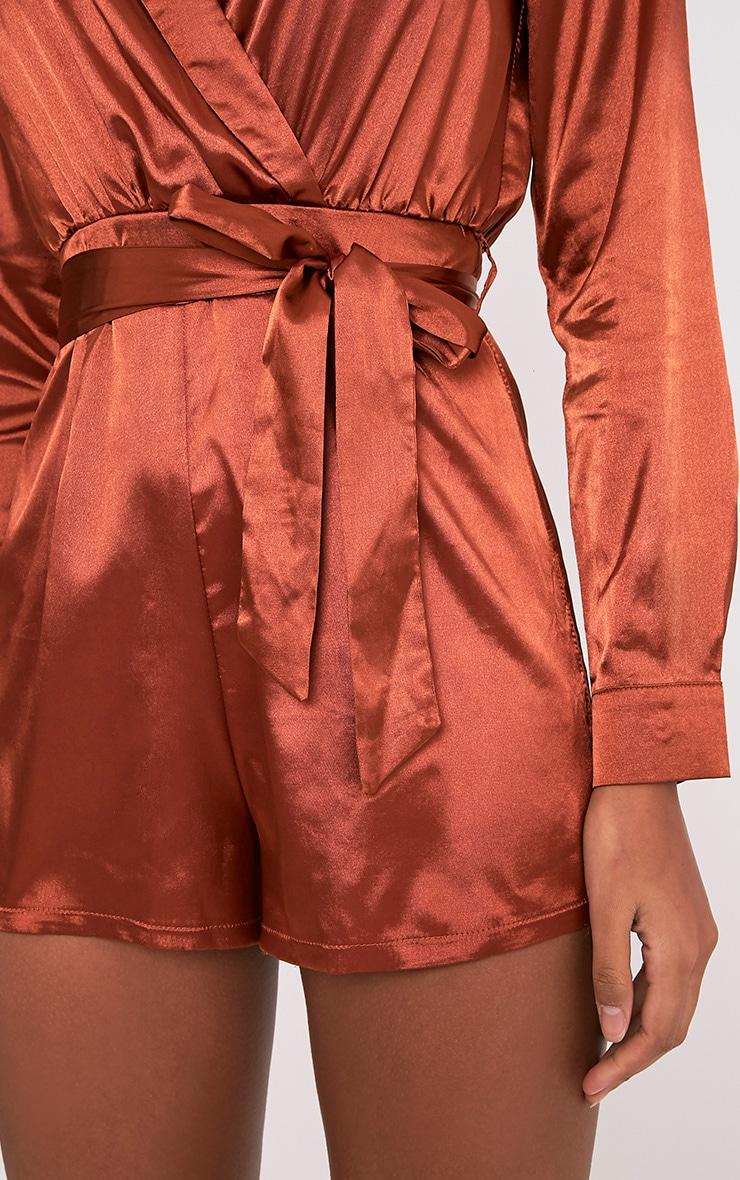 Amlie Tobbaco Satin Wrap Shirt Playsuit 6