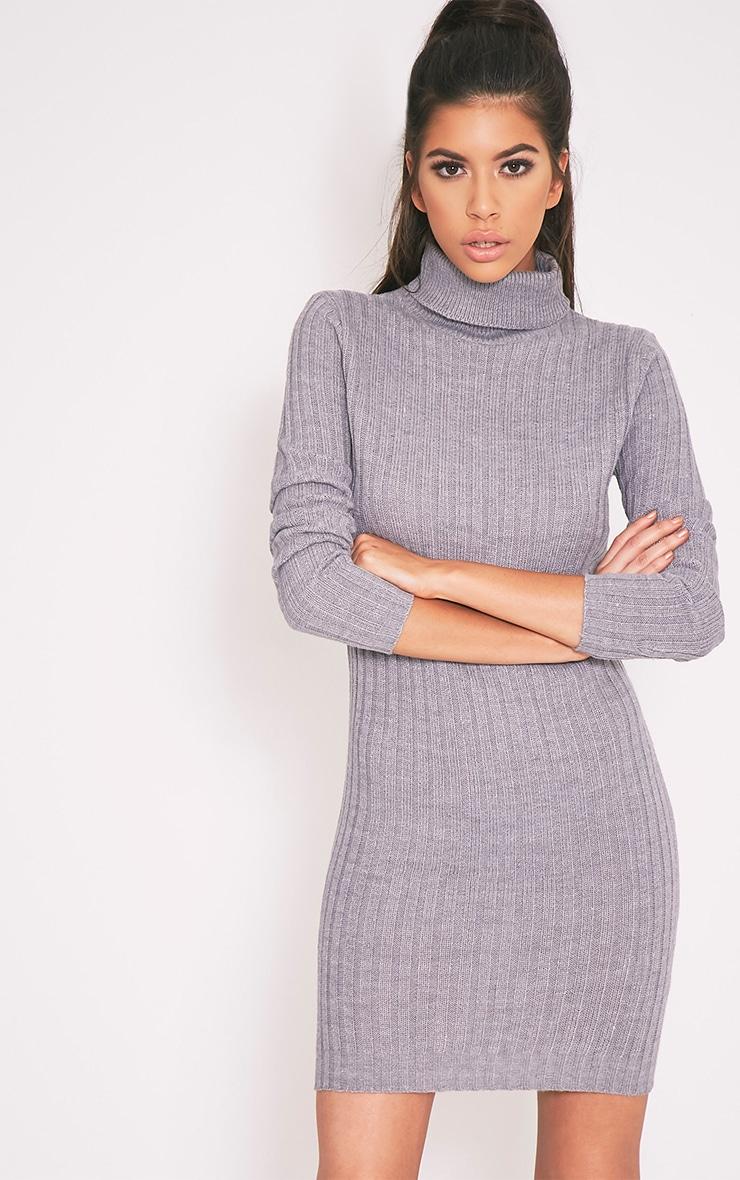 Bianca pull côtelé gris à col roulé 1