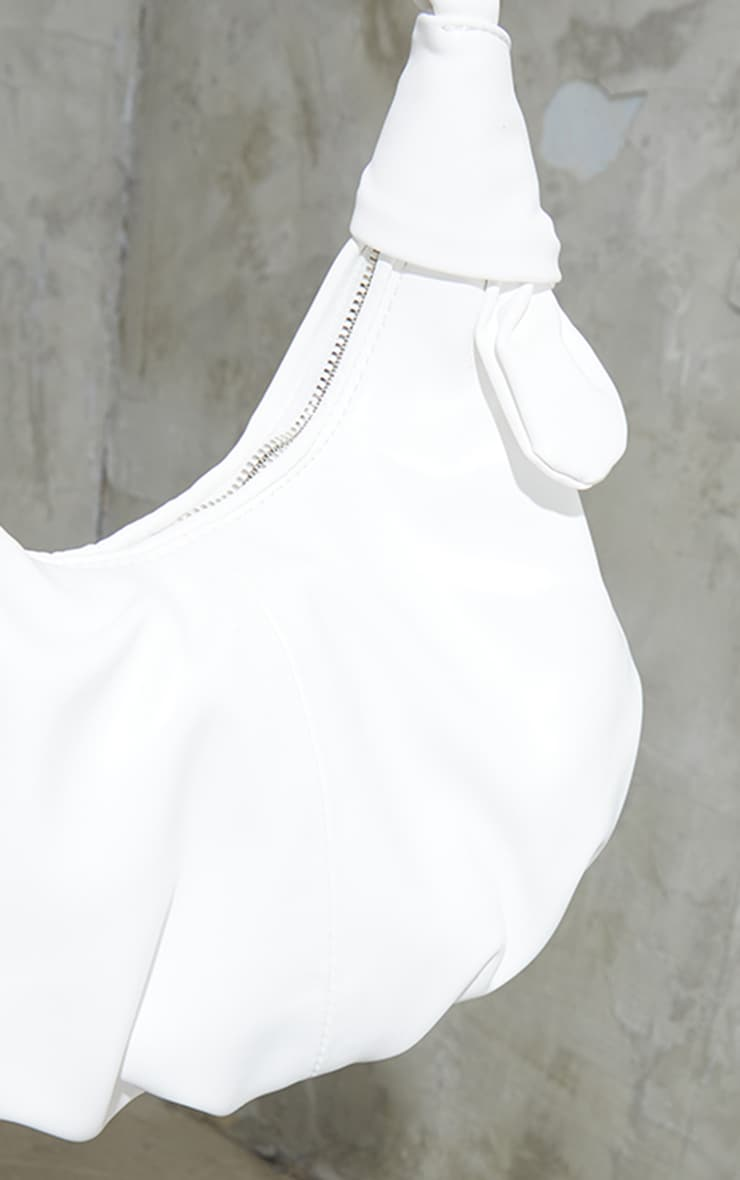 White Double Knot Rounded Shoulder Bag 4