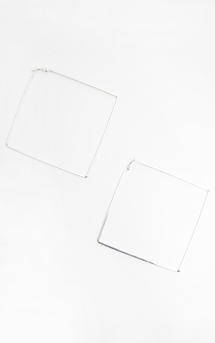 Silver Square Large Hoop Earring 2