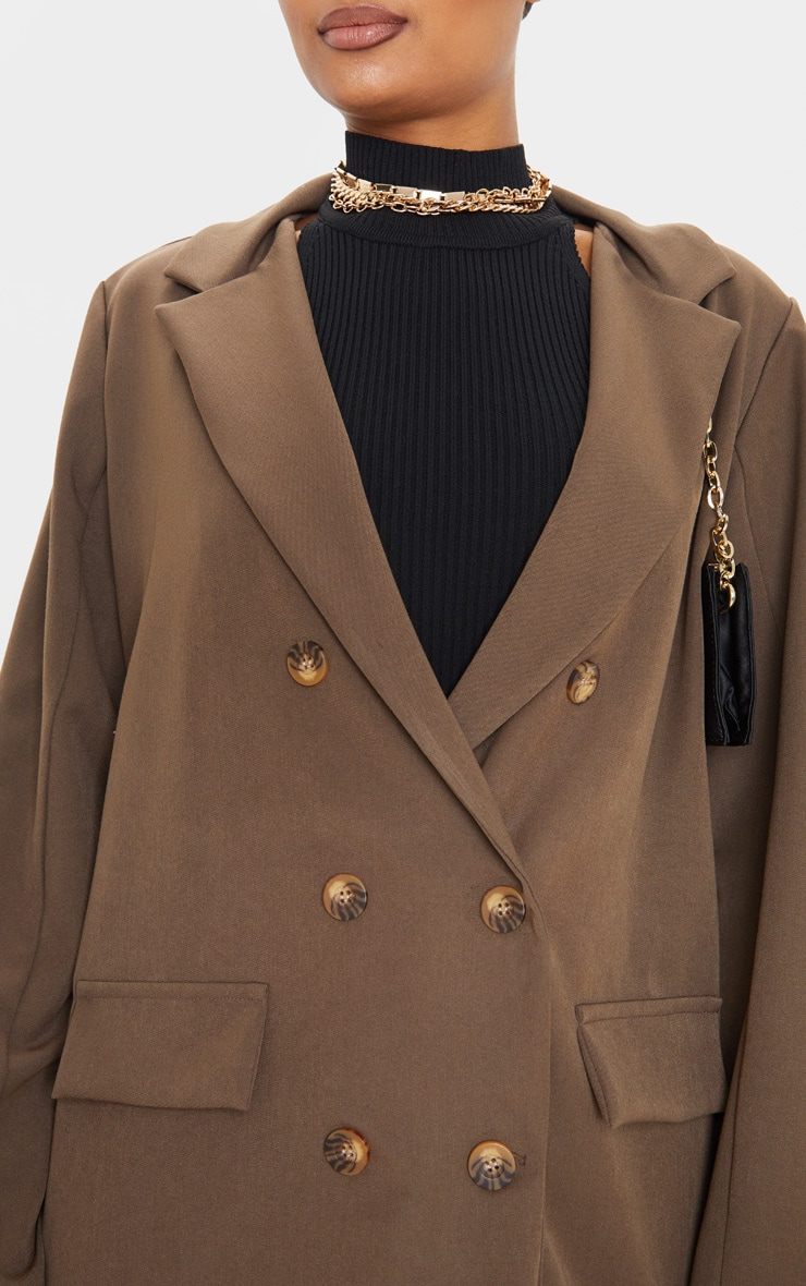 Taupe Oversized Shoulder Padded Blazer 5