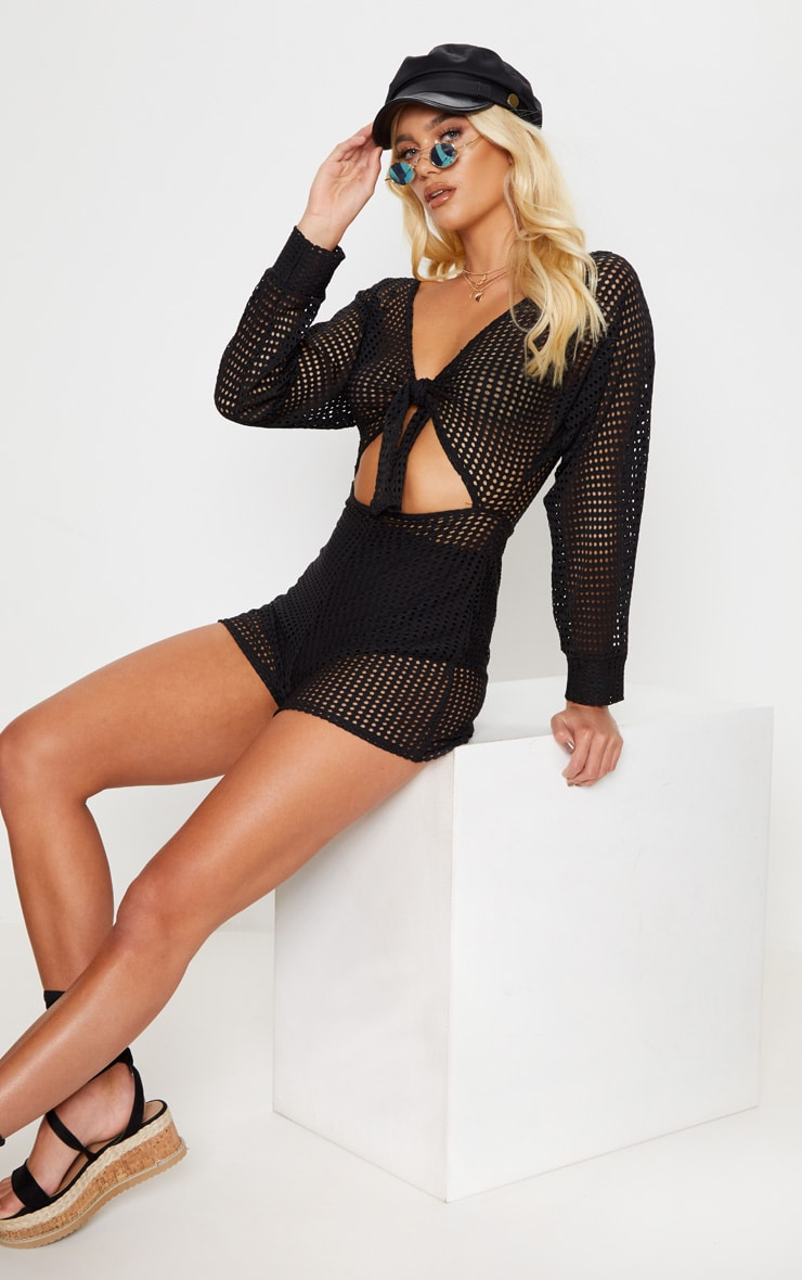 Black Large Fishnet Tie Front Playsuit 1