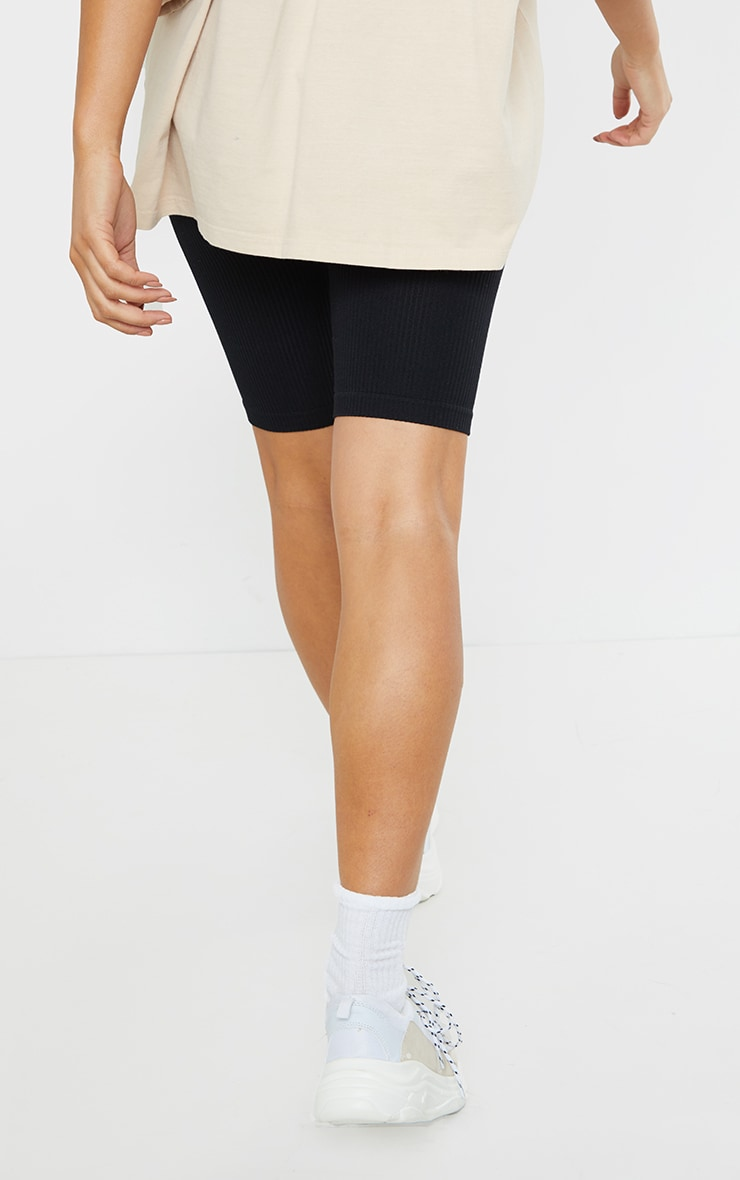 Maternity Black Structured Contour Rib Cycle Shorts 3