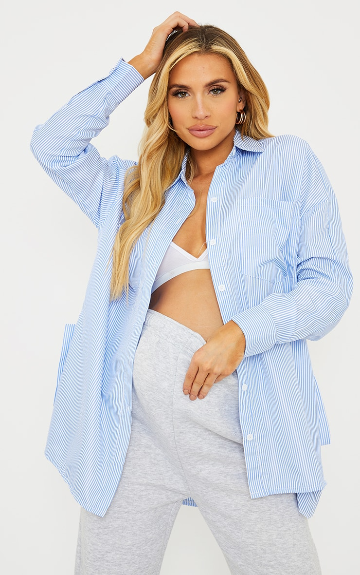 PRETTYLIITTLETHING Maternity Blue Striped Oversized Shirt 2