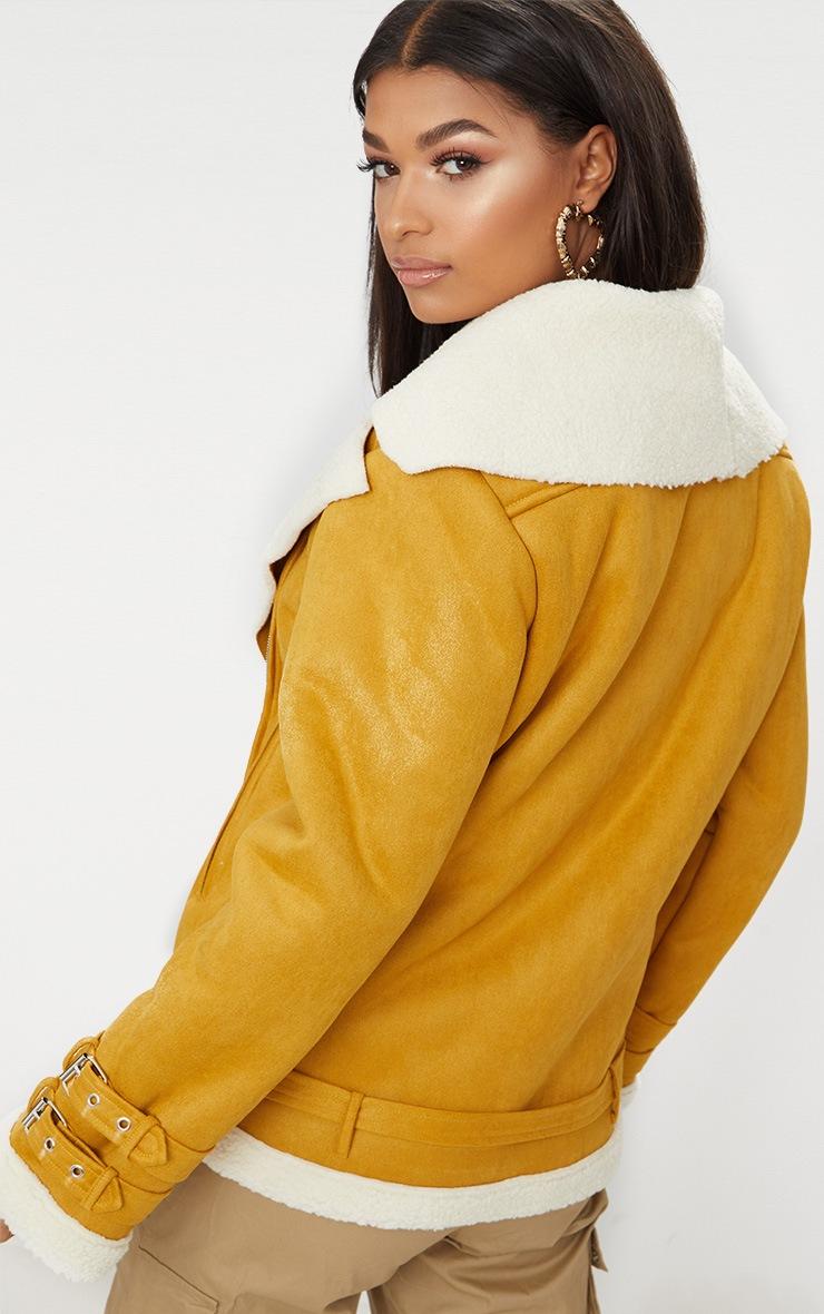 Mustard Faux Suede Aviator Jacket 2
