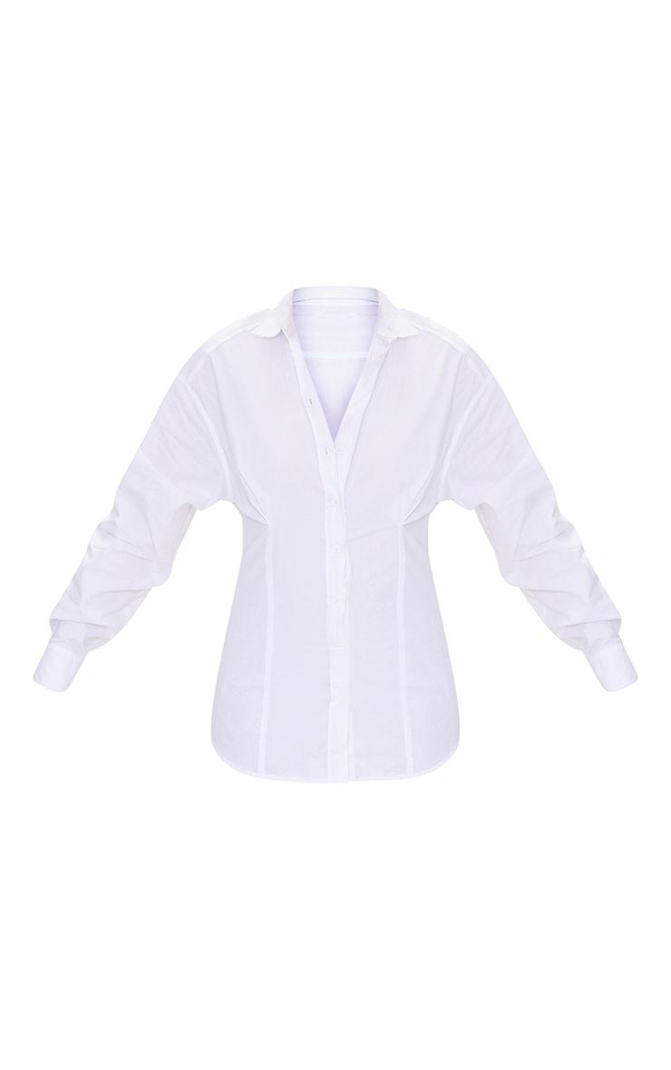 White Poplin Fitted Detail Long Sleeve Shirt 5