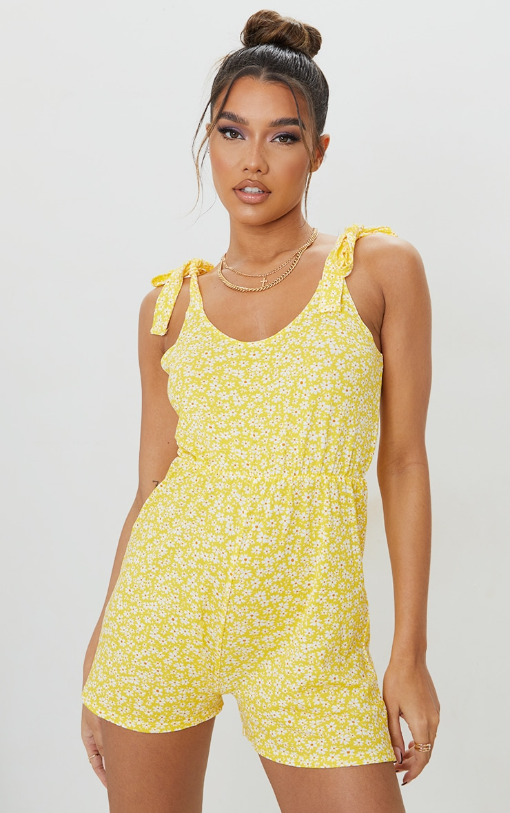 Yellow Floral Print Tie Strap Smock Playsuit 1