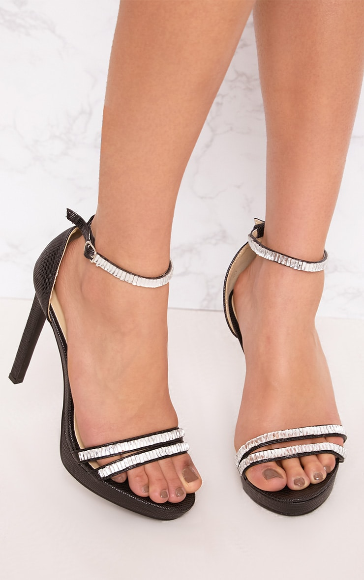 Larina Black Jewelled Strappy Heeled Sandals 1