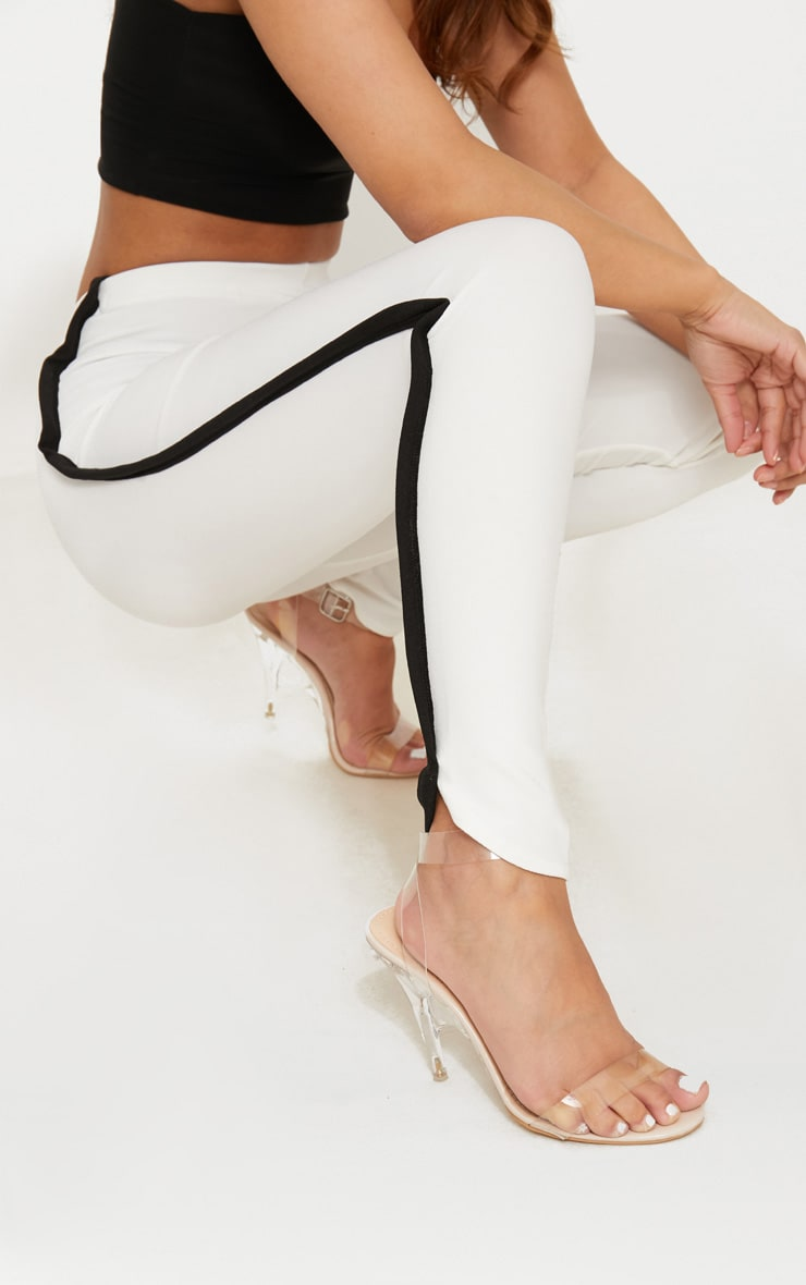 Petite White Contrast Skinny Trousers 4