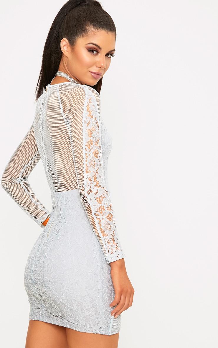 Ida Grey Lace Fishnet Panel Bodycon Dress 2