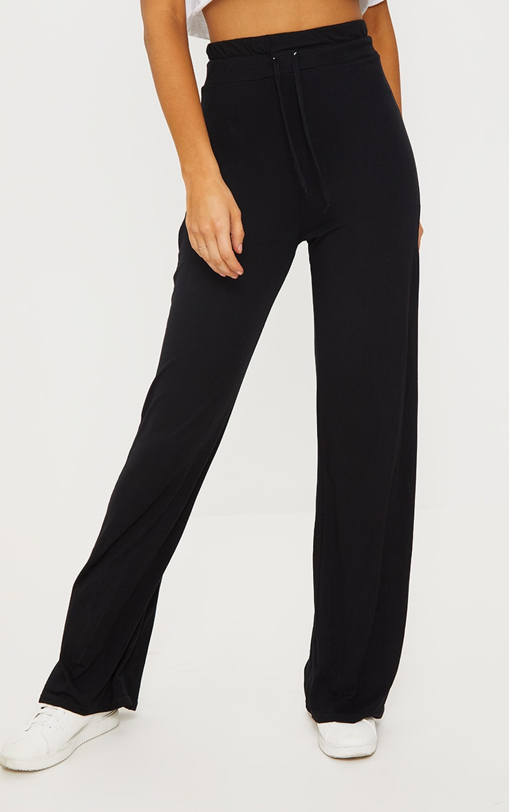 Black Drawstring Jersey Wide Leg Track Pants 2