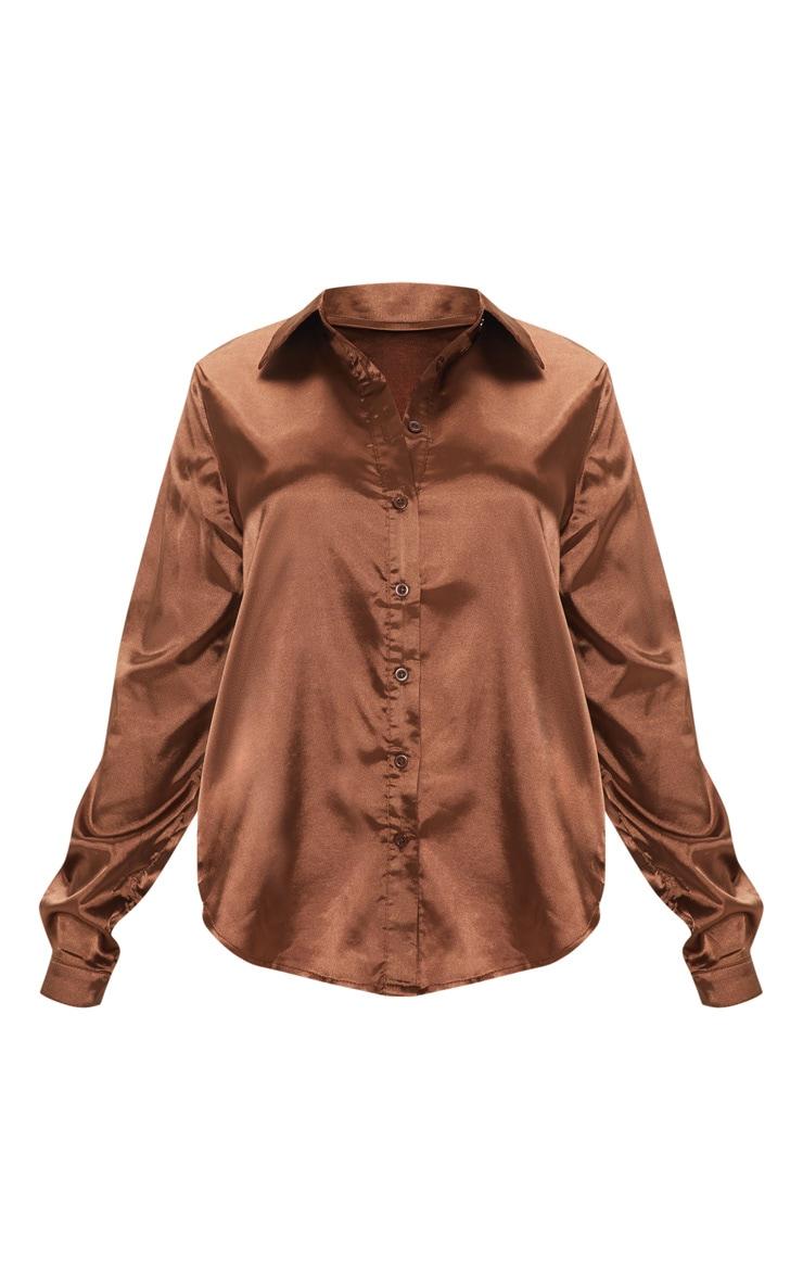 Petite Chocolate Brown Satin Shirt 3