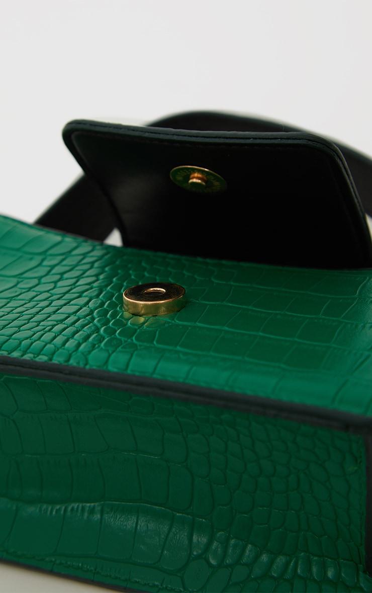 Green Croc Front Flap Mini Bag 4