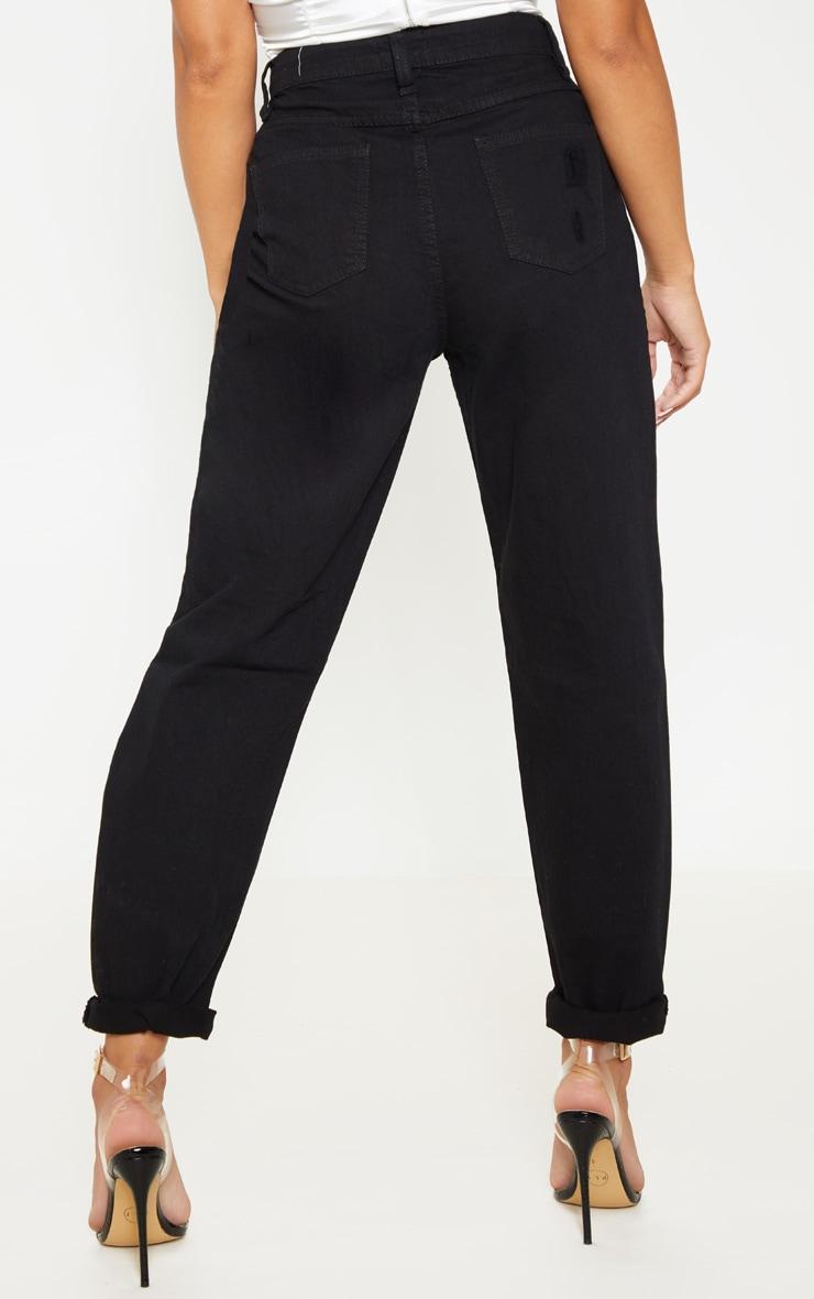 Petite Black Distressed Knee Straight Leg Jeans 4