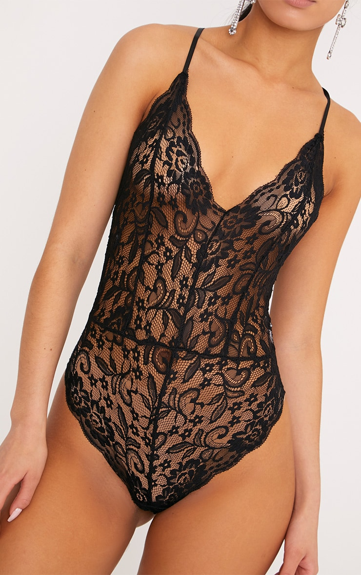 Madeline Black Lace Cross Strap Bodysuit 6