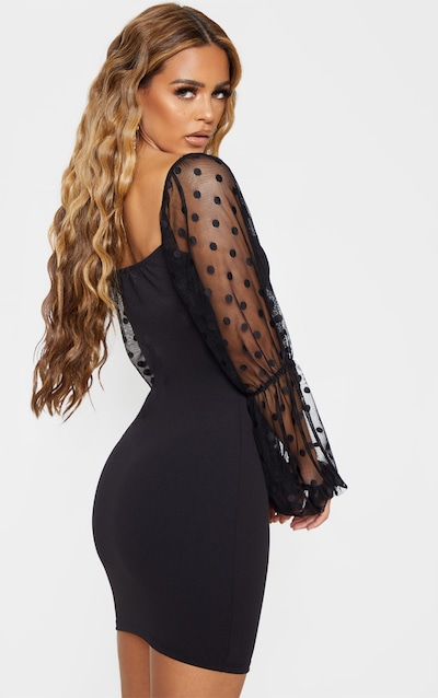 Petite Black Dobby Mesh Puff Sleeve Mini Dress