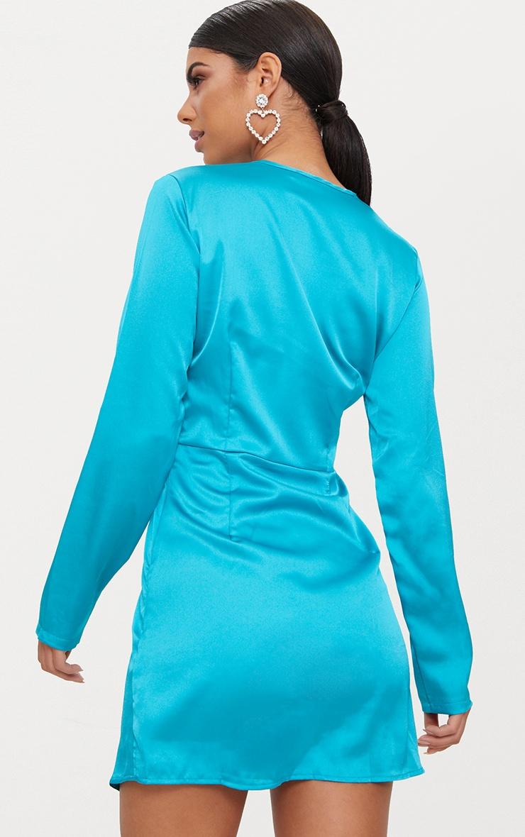 Teal Satin Long Sleeve Wrap Dress 2