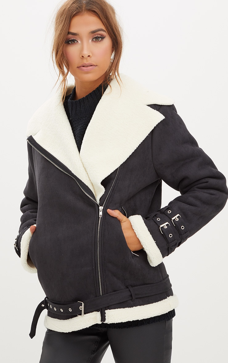 Black Faux Suede Aviator Jacket With Cream Faux Fur  1