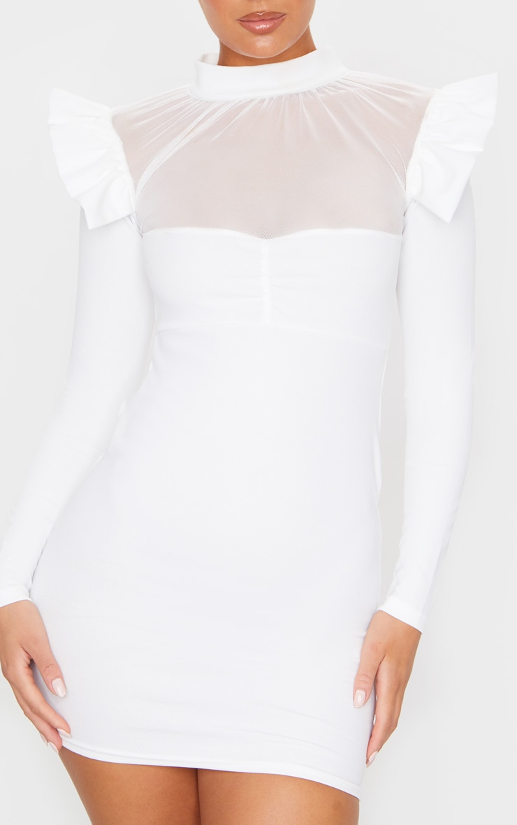White Frill Shoulder Mesh Insert Long Sleeve Bodycon Dress 5