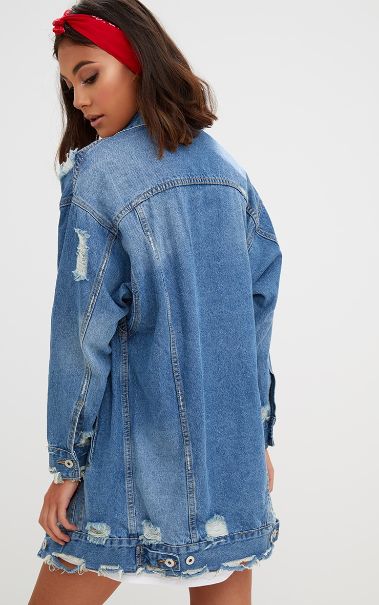 Mid Wash Longline Distressed Denim Jacket 2