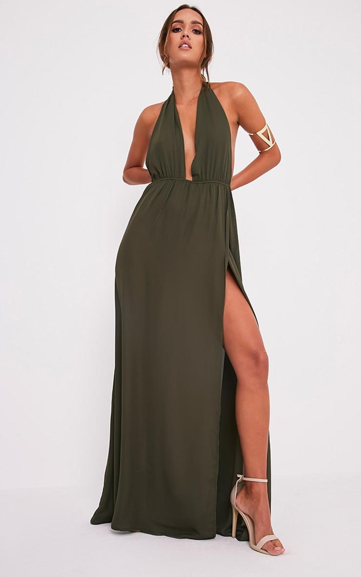 c3b0ed668f Alina Khaki Plunge Maxi Dress image 5