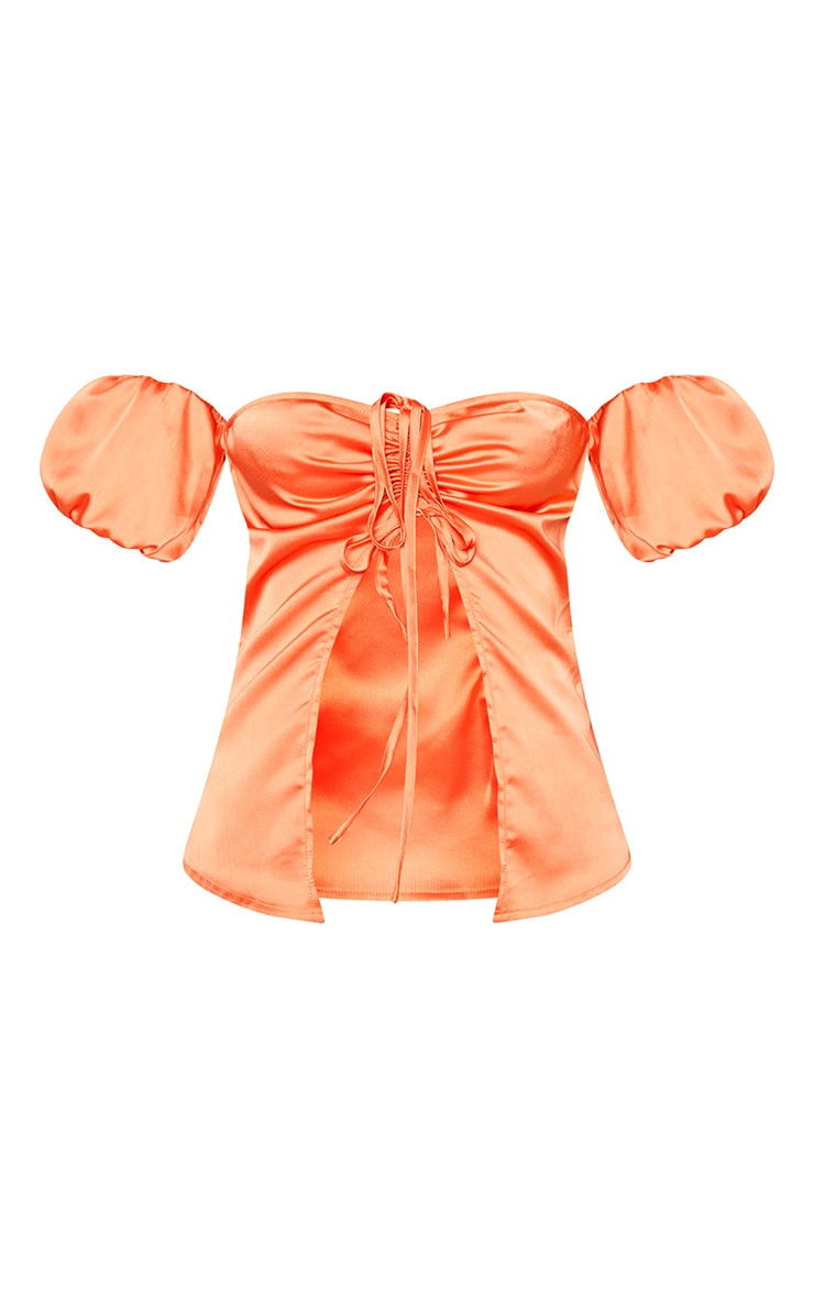Petite Peach Satin Ruched Open Front Top  3