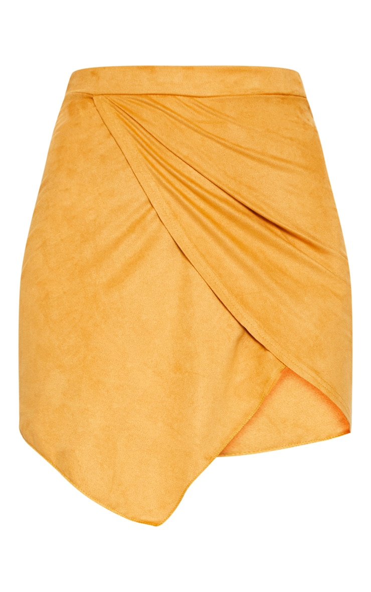 Yellow Faux Suede Wrap Over Mini Skirt 3