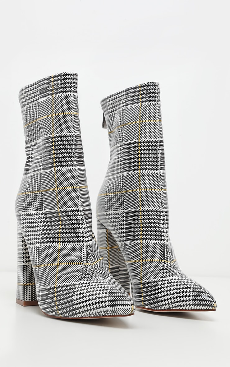 Check Block Heel Point Sock Boot 3