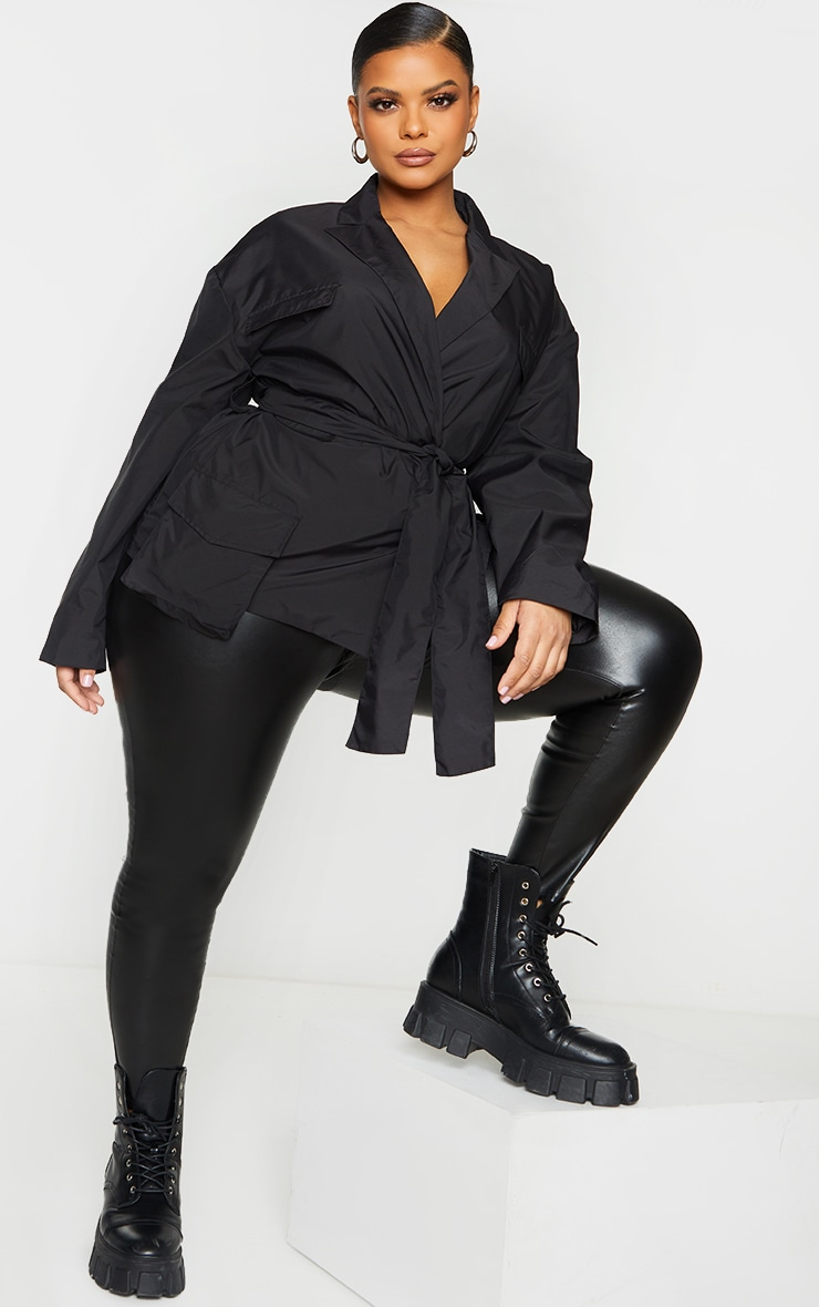 Plus Black Shell Tie Front Cropped Jacket 3