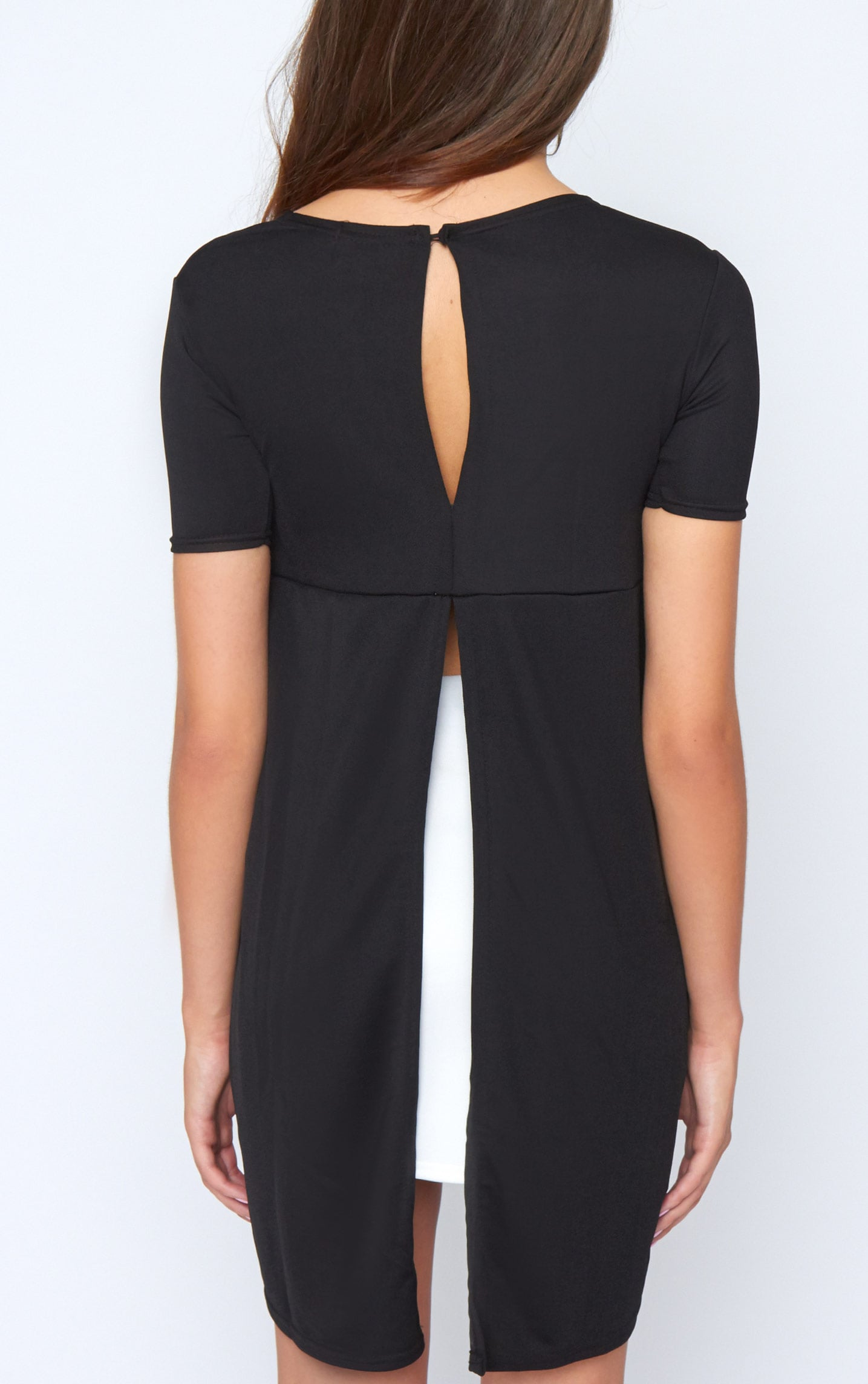 Roya Black Split Dip Hem Top 2