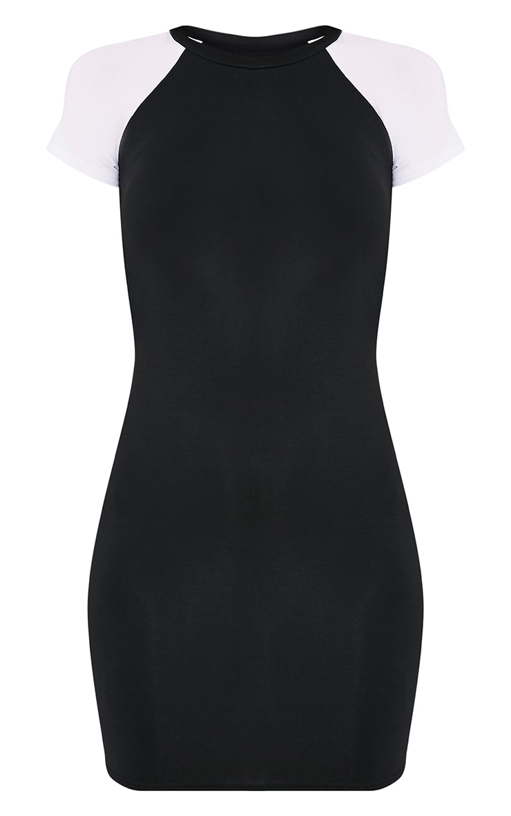 Kazzie Black & White Contrast Short Sleeved Bodycon Dress 3