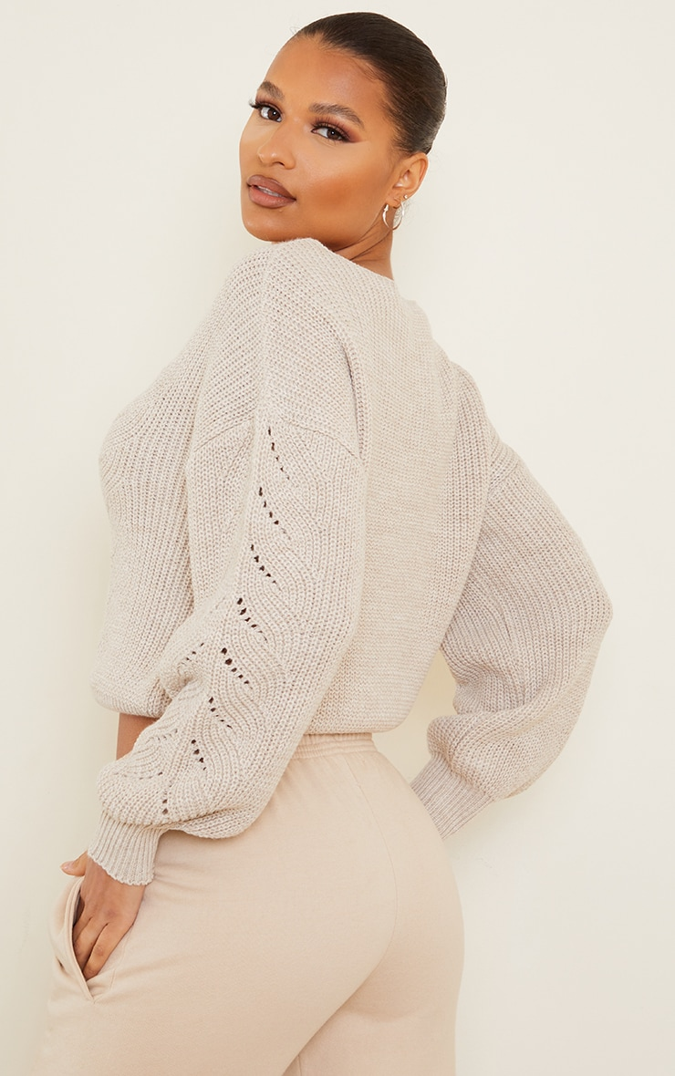 Oatmeal Pointelle Crew Neck Knitted Jumper 2