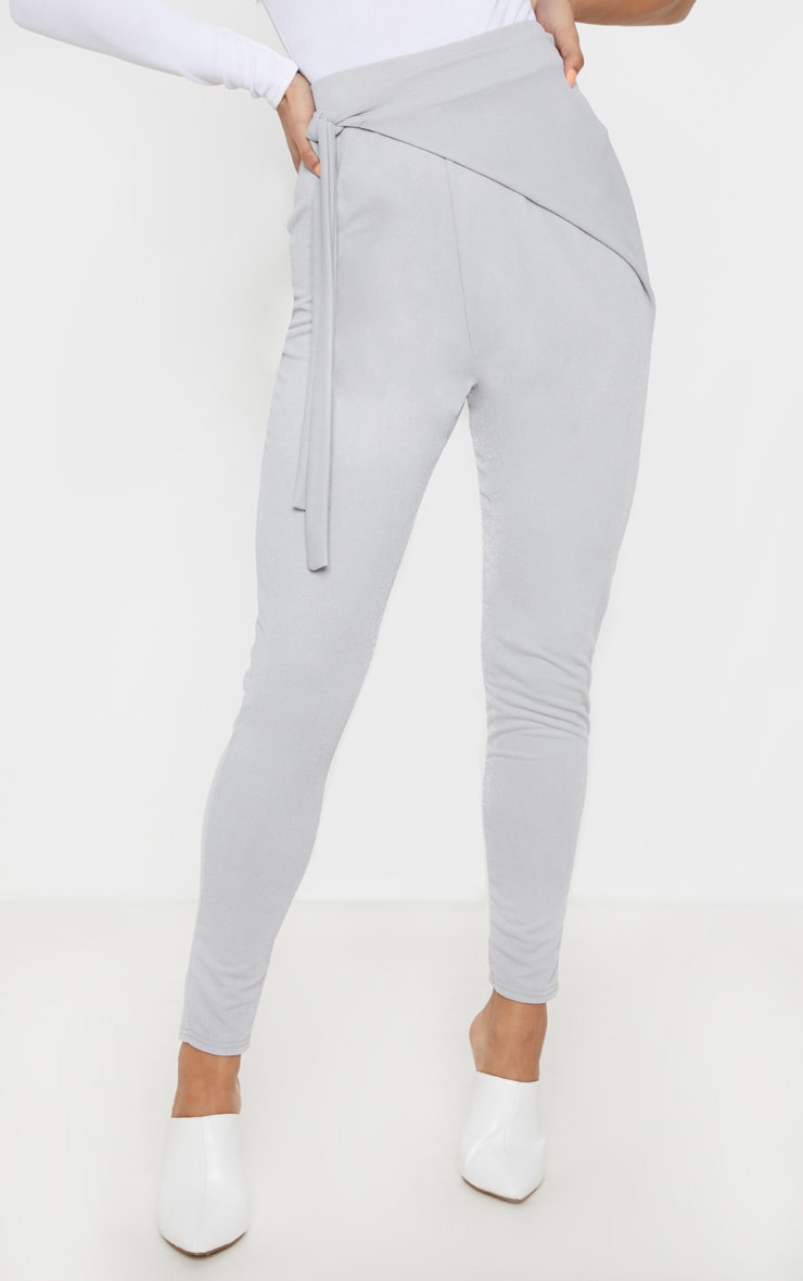 Grey Wrap Front Skinny Trouser  2