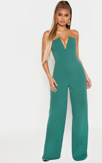 Jasper Green V Bar Wide Leg Jumpsuit