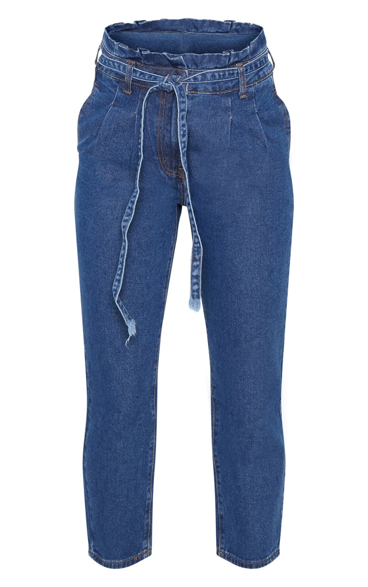 Dark Wash Straight Leg Paperbag Jean 3