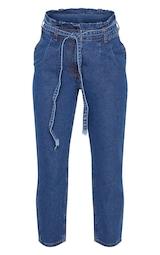 Dark Wash Straight Leg Paperbag Jean 3