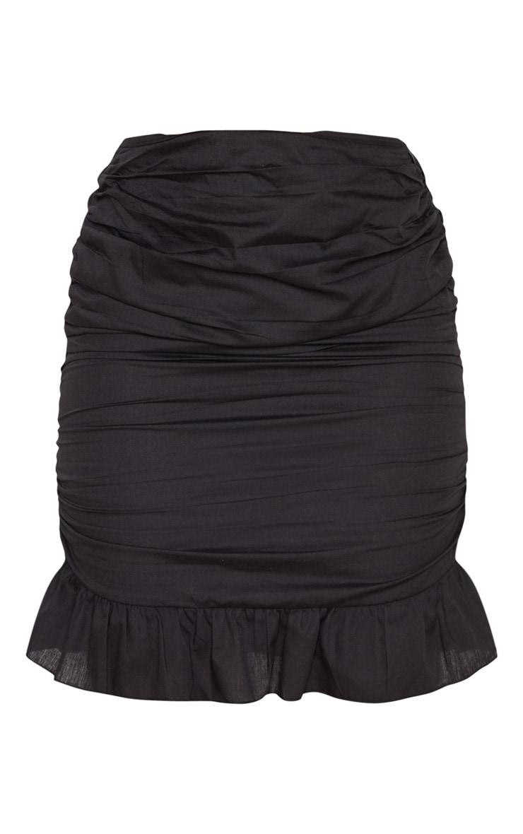 Black Woven Ruched Frill Hem Mini Skirt  3