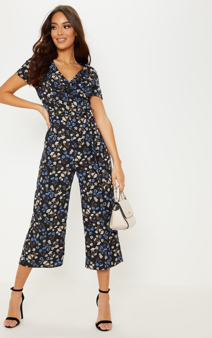 cb6e73ccd9 Black Ditsy Twist Wide Leg Jumpsuit image 1