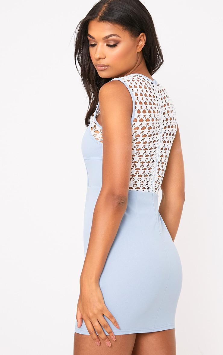 Layalia Blue Star Lace Contrast Bodycon Dress  2