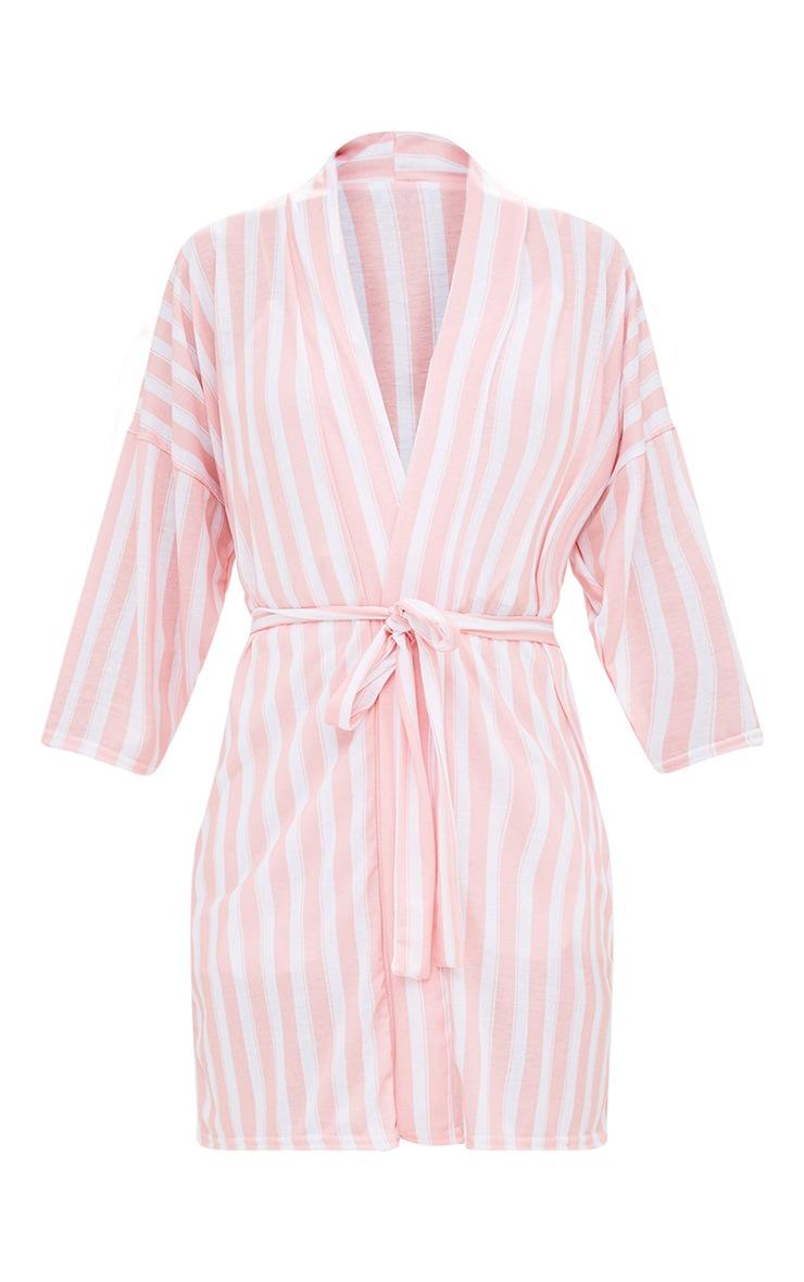 Pink Stripe Bride Dressing Gown 3