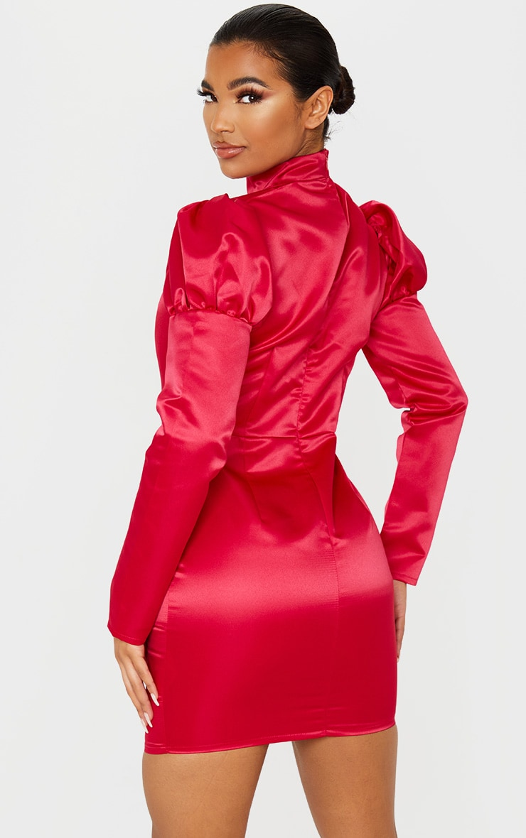 Red Jacquard High Neck Puff Shoulder Bodycon Dress 2