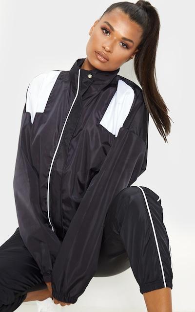 Black Oversized Shell Tracksuit Jacket