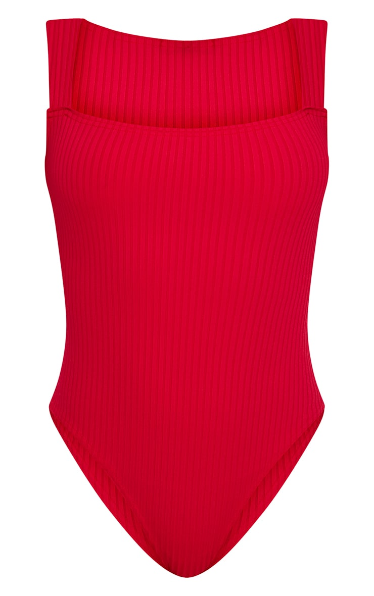 Red Square Neck Rib Thong Bodysuit 3